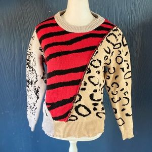 Alice Blue beige Red Cable knit sweater top Small